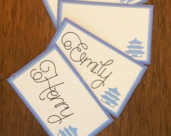 Blue and White Pagoda Place Cards - Chinoiserie Chic, Dinner Party, Blue and White Escort Cards