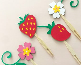 Strawberry Blossom Cupcake Toppers (Set of 12) - Berry First Birthday Cupcake Decor, Berry Sweet, Baby Shower