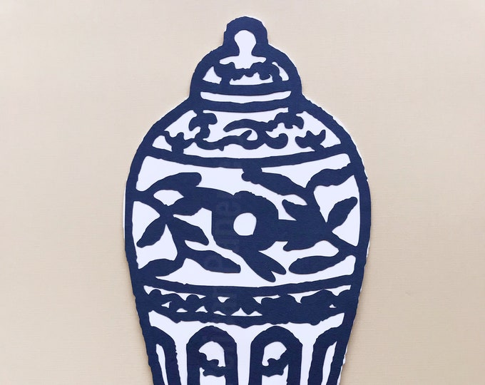 Navy Blue Ginger Jar Cake Topper - Chinoiserie Chic Bridal Shower, Girl Birthday Party, Cake Decorations , Blue and White