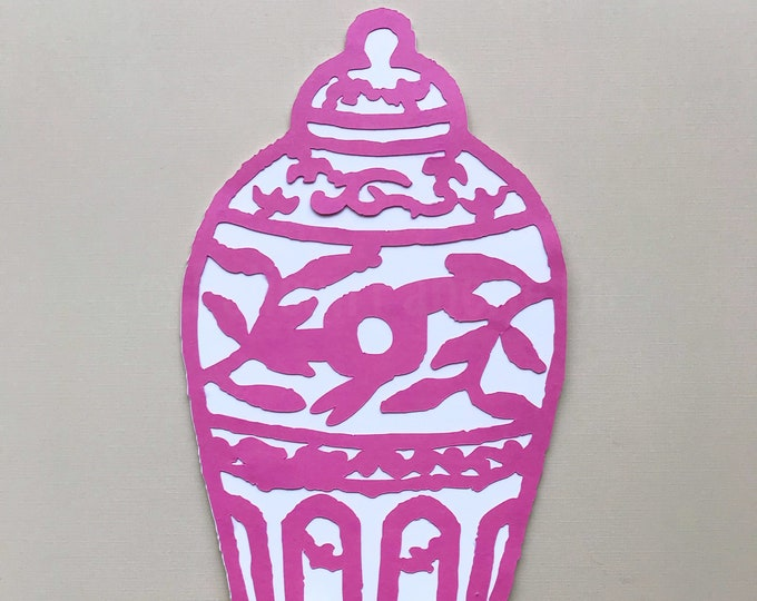 Fuchsia Ginger Jar Cake Topper - Chinoiserie Chic Bridal Shower, Girl Birthday Party, Cake Decorations