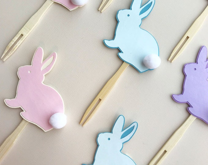 Sweet Bunny Cupcake Toppers (Set of 12)  - Easter Cupcake Toppers, Bunny Baby Shower, Some bunny is One, Bunny Bash