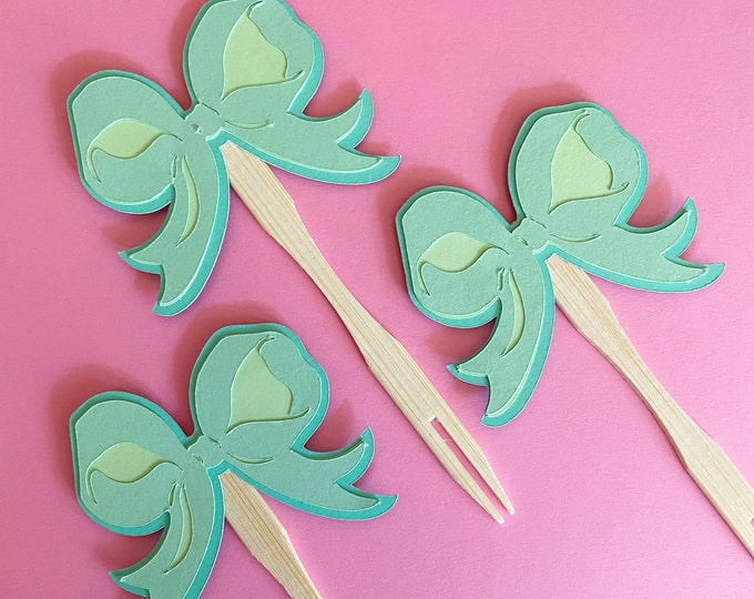 Ribbon Bow Cupcake Toppers - Little Lady Baby Shower, Baby Shower, Pink Ribbons, Birthday, Classic
