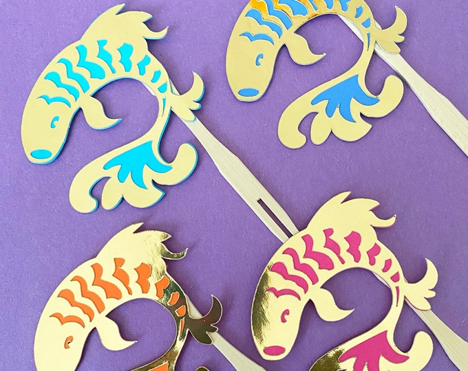 Golden Koi Fish Cupcake Toppers / Cocktail Forks  (Set of 12) - Blue and white party decor, Chinoiserie Chic, Birthday Party