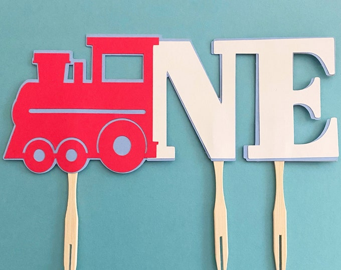 """Red Train Cake """"ONE"""" Topper - Train Themed Birthday Party Decor, First Birthday, One"""