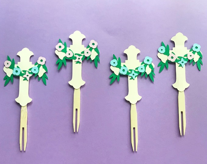 Ivory Cross Cupcake Toppers With Floral Accents  (Set of 12)  - Easter Cupcake Toppers, Christening, Baptism, Party Decor