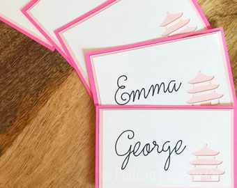 Magenta Pink and White Pagoda Place Cards - Chinoiserie Chic, Dinner Party, Pink Pagoda Escort Cards