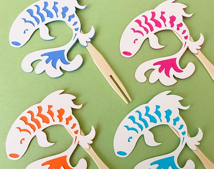 Koi Fish Cupcake Toppers / Cocktail Forks  (Set of 12) - Blue and white party decor, Chinoiserie Chic, Birthday Party