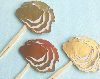Oyster Cupcake Toppers (Set of 12) - Gold Oyster Cupcake Toppers, Sweet Little Pearl, Oyster Roast, Clam Bake, Birthday Party, Dinner Party