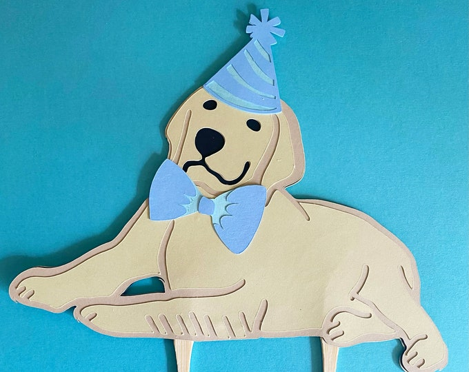 Picture Perfect Puppy Cake Topper - Dog Themed Cake Decor, First Birthday, Preppy Birthday Bash, Baby Showe