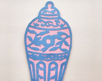 Ginger Jar Cake Topper (Pink and Blue) - Chinoiserie Gender Reveal, Blue and White Party, Chinoiserie Chic Baby Shower, Gender Neutral