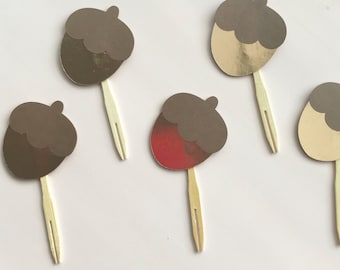 Gilded Acorns - Brown and Rose Gold Acorn Cupcake Toppers (Set of 12) - Birthday, Autumn Party, Baby Shower, Thanksgiving, Harvest Decor