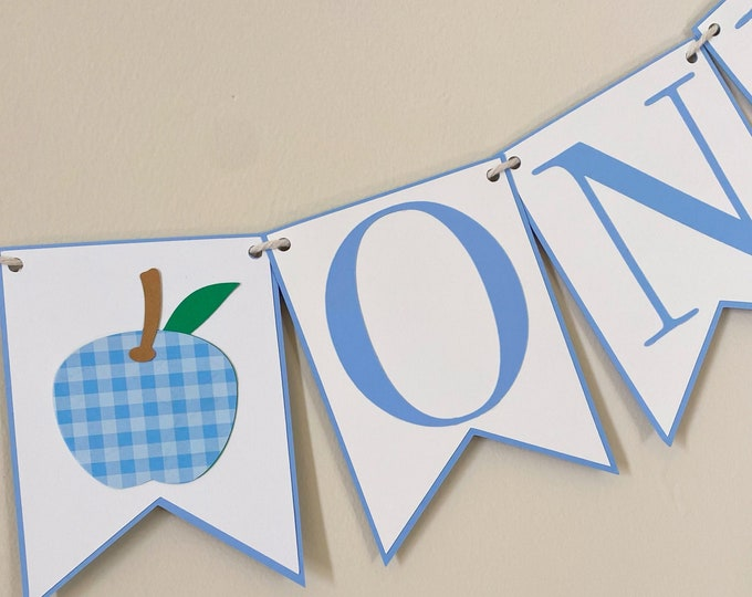 Gingham Apple High Chair Banner - Apple of our eye birthday Party Banner, Fruit Party Decor, First Birthday, One, Two