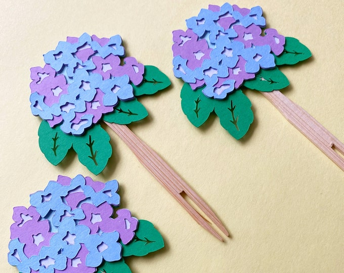 Hydrangea Cupcake Toppers (Set of 12)  - Floral Party Decorations, Baby Shower, Birthday Party