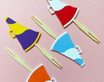 Megaphone Cupcake Toppers Set of 12 - Cheerleading, GameDay, School Spirit Decor, Team Birthday Party, Gender Reveal, Baby Shower