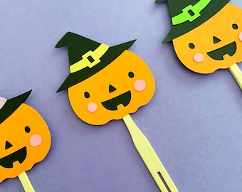 Halloween Cupcake Toppers (Set of 12) - Witch, Jack-o'-lantern, Halloween Party, Fall Party, Baby Shower, Little Boo, Birthday, Boo Bash