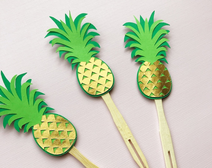 Gold Pineapple Cupcake Toppers (Set of 12) - Pineapple Party, Birthday Party, Luau, Flamingo Party, Tropical Chic