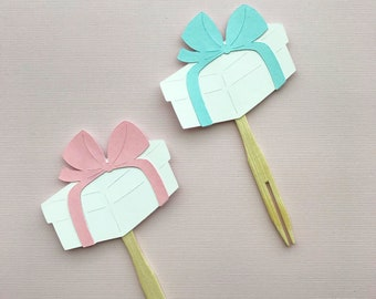Birthday or Shower Present Cupcake Toppers Set of 12 - Cupcake Decor, Pastel Birthday Party