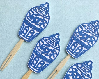 Blue and White Ginger Jar Cupcake Toppers (Set of 12) - Blue and White Bridal Shower, Baby Shower, Engagement, Chinoiserie Chic Party