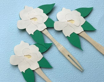 Magnolia Cupcake Toppers (Set of 12)  - Sweet Little Magnolia Baby Shower, Magnolia Baby Shower, Southern Belle Baby Shower, Birthday Party