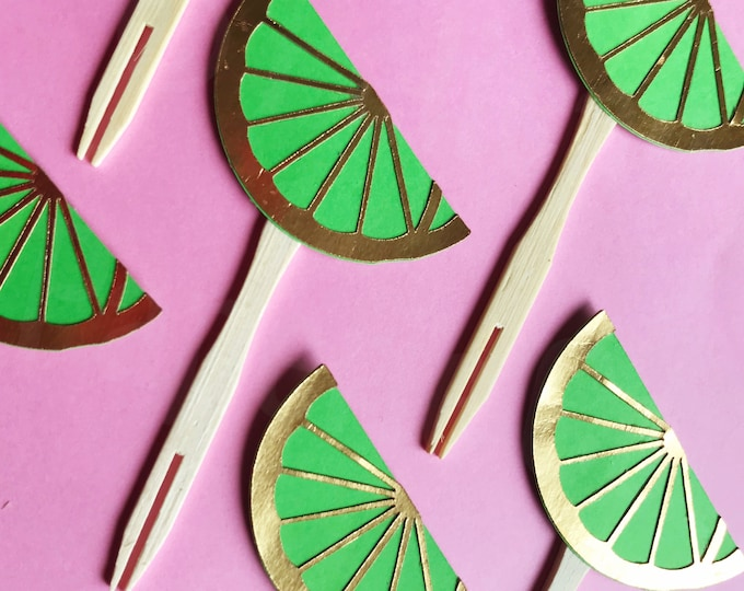 Lime Cupcake Toppers (Set of 12) - Green and Gold, Margarita Party, Fiesta, Luau Party, Tropical Theme, Flamingo Party