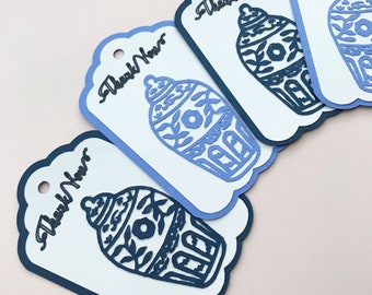 Blue and White Ginger Jar Thank You Tags (Set of 12) - Chinoiserie Chic Party, Bridal Shower, Brunch, Luncheon, Favor Tags, Gift Tags