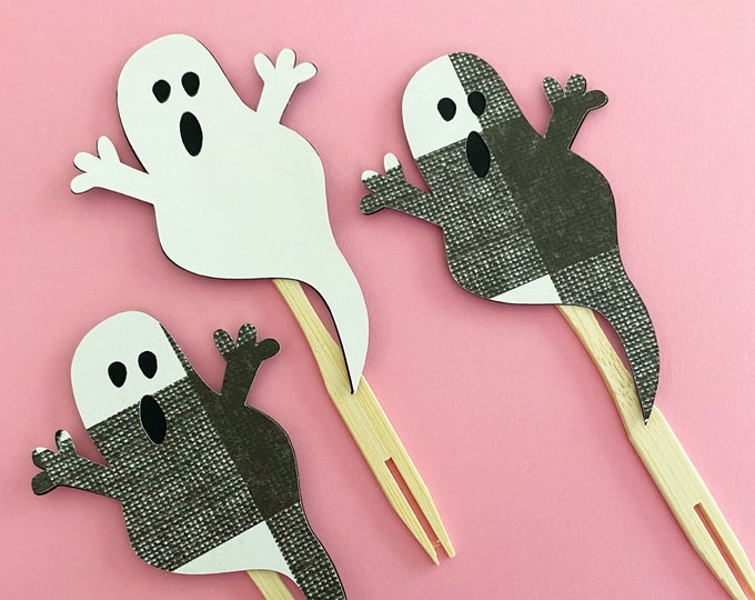 Spooky Ghost Cupcake Toppers (Set of 12) - Halloween Party, Fall Party, Baby Shower, Little Boo, Birthday, Boo Bash