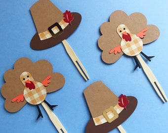 Thanksgiving Cupcake Toppers (Set of 12) - Fall Birthday, Autumn Party, Pilgrim Hat, Orange Gingham Turkey, Harvest Decor