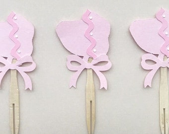 Sweet Baby Bonnet Cupcake Toppers - Bonnet Birthday, Little Southern Belle, Blush and Bashful Baby Shower, Pink Ribbons and Bows