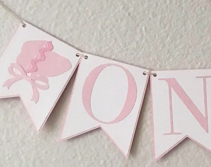 Pink Bonnet High Chair Banner - Bonnet Birthday Party, Tickled Pink, Baby's First Birthday, Ribbons and Bows, Southern Belle