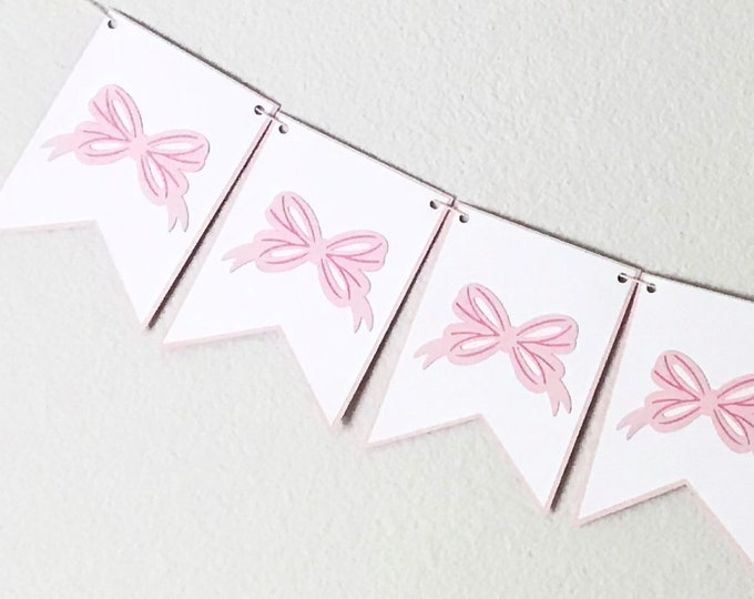 Bow Bash Banner - Pink and White Banner, Ribbons and Bows, Baby Girl Birthday Party Decor, Baby Shower, Southern Belle, Bridal Shower