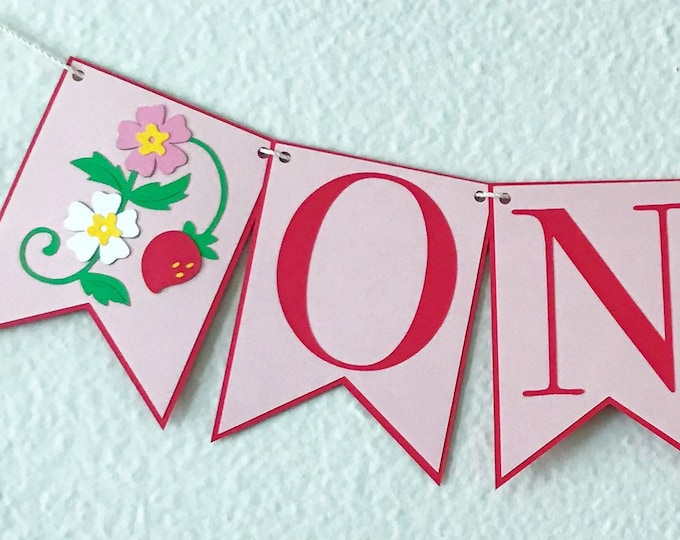 Strawberry Blossom High Chair Banner - Berry First Birthday, Pink and White, Baby Girl Birthday Party Decor, First Birthday