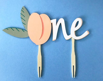 One Sweet Peach Cake Topper - Peach First Birthday Cake Decorations, Girl Birthday Party, Smash Cake Decorations, Little Peach