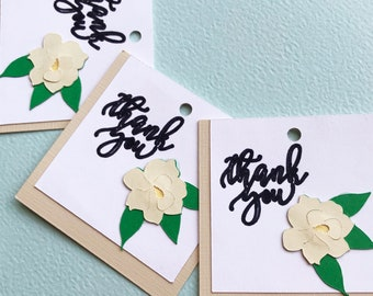 Magnolia Thank You Gift Tags (Set of 12) - Magnolia Favor Tags, Thank You Tags, Sweet Magnolia, Botanical, Neutral Gift Tags