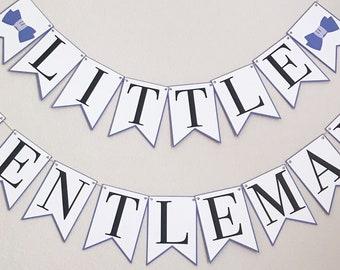 Little Gentleman Banner - Bow Tie Baby Shower,  Little Gent Birthday, Blue and White Baby Shower, It's A Boy