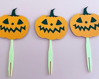 Jolly Jack-o'-lantern Pumpkin Cupcake Toppers (Set of 12) - Witch, Halloween Party, Fall Party, Baby Shower, Little Boo, Birthday, Boo Bash