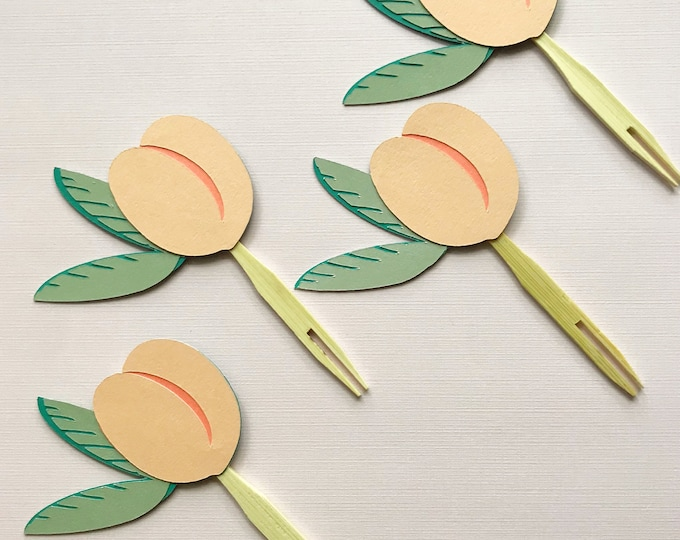 Peach Cupcake Toppers (Set of 12)  - Sweet Little Peach Baby Shower, Peach Birthday, Southern Belle Baby Shower