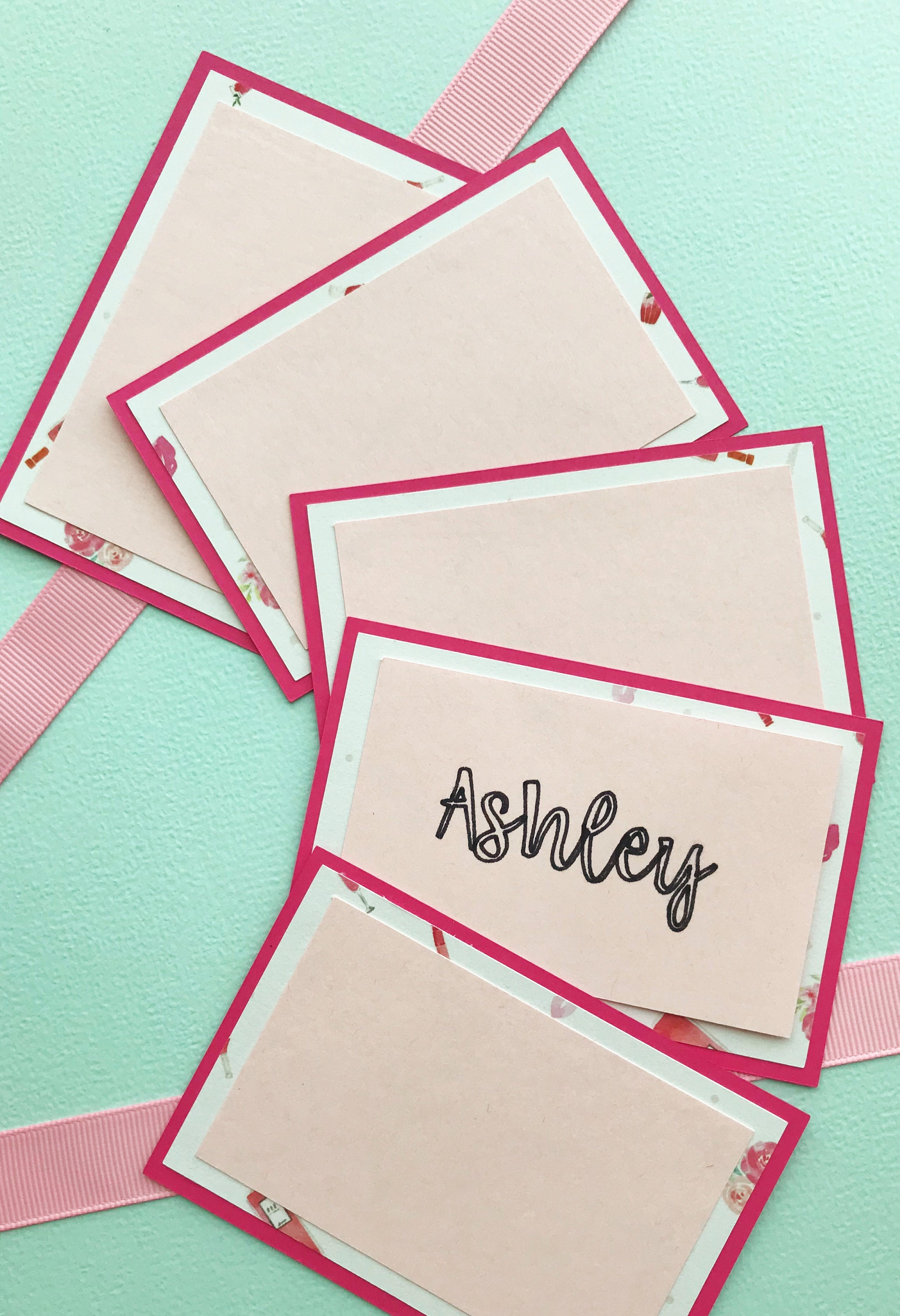 ros place cards pink and white party ros soire dinner party dcor wedding escort cards wine tasting food labels