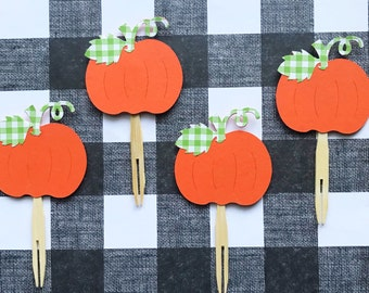 Orange and Green Gingham Cupcake Toppers (Set of 12) - Little Pumpkin, Fall Party, Baby Shower, Sweet Pumpkin, Birthday