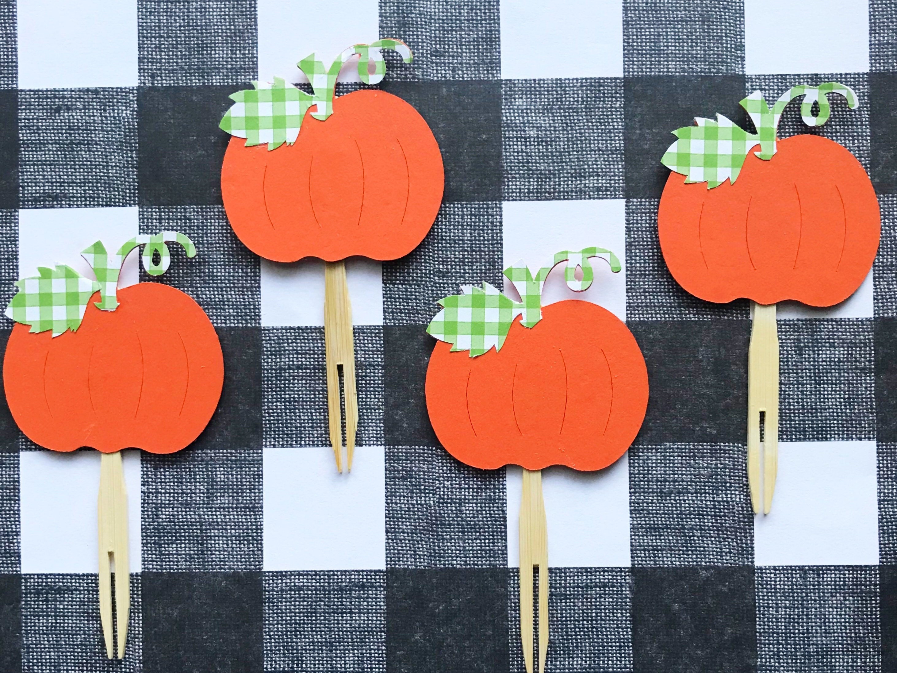 Orange And Green Gingham Cupcake Toppers (Set Of 12)   Little Pumpkin, Fall  Party, Baby Shower, Sweet Pumpkin, Birthday