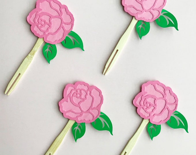 Blooming Rose Cupcake Toppers (Set of 12)  - Floral Party Decorations, Baby Shower, Birthday Party