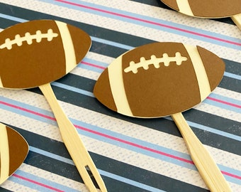Football Cupcake Toppers Set of 12 - Sports Party, GameDay, Cupcake Decor, Team Birthday Party, Gender Reveal, Baby Shower