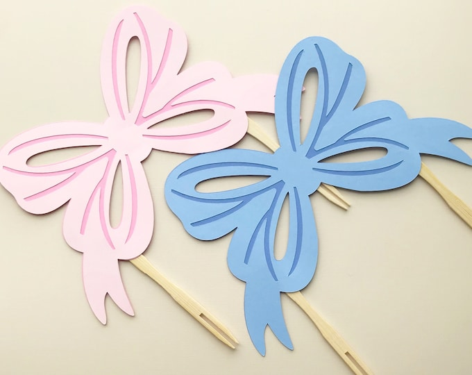Bow Cake Topper - Birthday Cake Decorations, Girl Birthday Party, Bow Bash, First Birthday, Ribbons