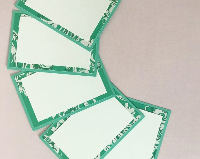 Jade Green & White Chinoiserie Place Cards (Set of 12) - Teal Dinner Party Decor, Chintz, Food Label Cards, Hostess Gift