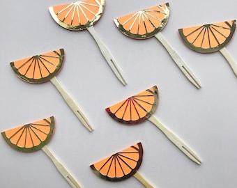 Orange Slice Cupcake Toppers (Set of 12) - Orange and Gold, Darling Clementine, Little Cutie, Bridal Shower, Baby Shower