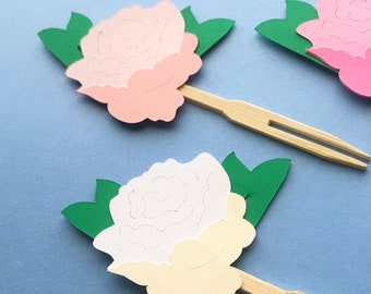 Pretty Peony Cupcake Toppers (Set of 12)  - Sweet Little Flower Baby Shower, Floral Bridal Shower, Pink, White, Garden Party