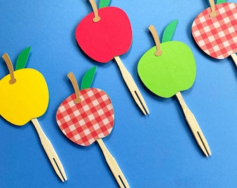 Sweet Apple Cupcake Toppers (Set of 12)  - Back to school party, Apple Of My Eye, Fall Birthday Party, Fruit