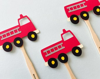 Fire Truck Cupcake Toppers - Set of 12,  Red Fire Truck Themed Party Decor, First Birthday, One, Two