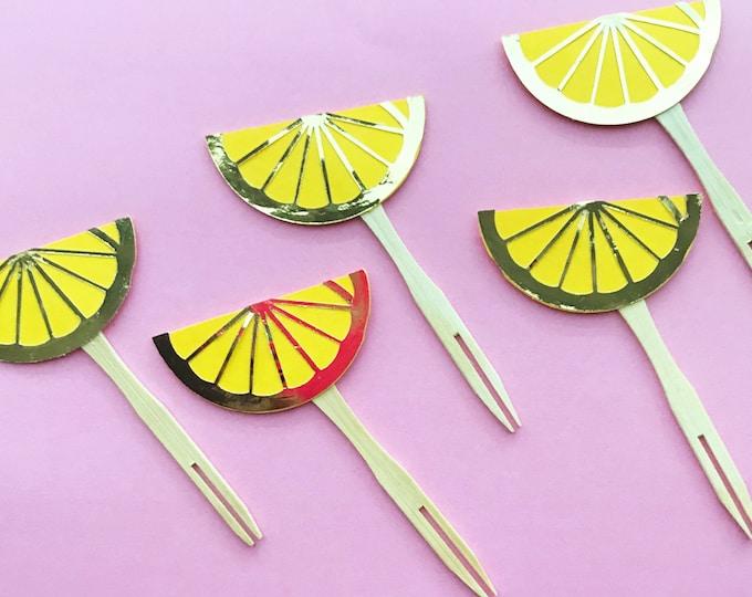 Lemon Cupcake Toppers (Set of 12) - Yellow and Gold, Lemonade Party, Lemon Baby Shower, Bridal Shower