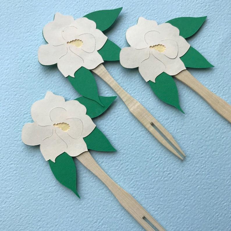 Magnolia Cupcake Toppers Set of 12   Sweet Little Magnolia image 0