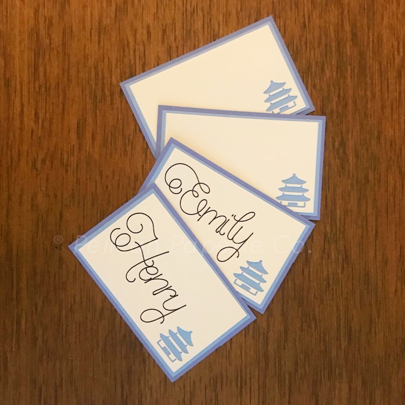 Blue and White Pagoda Place Cards  Chinoiserie Chic Dinner image 0